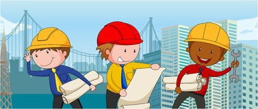 Engineers with paper and tools Royalty Free Stock Photo