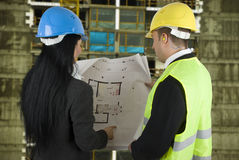 Engineers  with project on site Royalty Free Stock Photography
