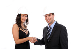 Engineers shaking hands Stock Photography