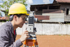 Engineers survey. Line columns for the construction of buildings royalty free stock images