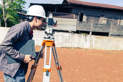 Engineers survey. Line columns for the construction of buildings stock photography