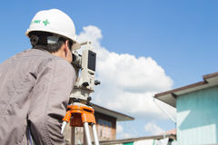 Engineers survey. Line columns for the construction of buildings stock photos
