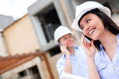 Engineers talking on the phone Stock Images