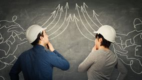 Engineers teamwork cooperation. Man and women engineers mess thoughts join together and transform into straight arrows going up. Information processing, idea stock photography