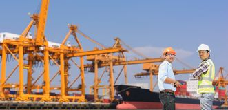 Engineers and Transportation. Engineers and transportation and ports royalty free stock image