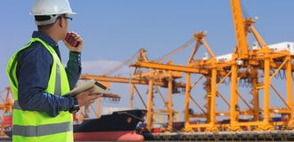 Engineers and Transportation. Engineers and transportation and ports stock image