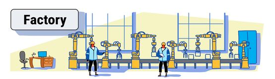 Engineers in uniform controlling factory production conveyor automatic assembly line machinery automation industry. Concept colorful sketch doodle horizontal stock illustration