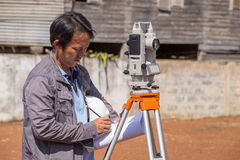Engineers use tacheometer or theodolite for survey line columns Royalty Free Stock Images