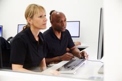 Engineers Using CAD System In Design Studio royalty free stock photo