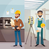 Engineers Vertical Banners. With male architect  worker and surveyor in flat style vector illustration Royalty Free Stock Photography