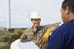 Engineers At Wind Farm Royalty Free Stock Photography
