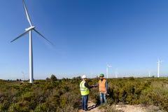 Engineers of Wind Turbine Stock Image