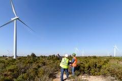 Engineers of Wind Turbine Stock Images