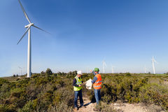 Engineers of Wind Turbine Royalty Free Stock Photos