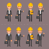 Engineers woman and man in various poses Stock Photos