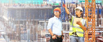 Engineers. Are working at building sites Royalty Free Stock Image