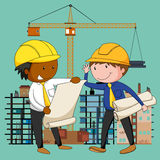 Engineers working at the construction site. Illustration Royalty Free Stock Images