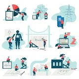 Engineers Working at Projects Set, Programmers, Electricians, Architects, Builders Engineers at Work, Car Industry stock illustration
