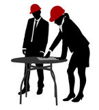 Engineers working silhouettes Royalty Free Stock Images