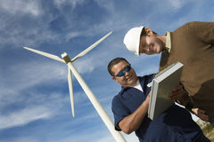 Engineers Working At Wind Farm Royalty Free Stock Photos