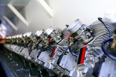 Engines from kart cars line for been inspec Royalty Free Stock Photography