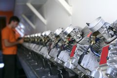 Engines from kart cars in row line Stock Images