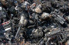 Engines pile. A pile of car engines for recycling royalty free stock photo