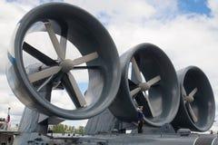 Engines of the small landing ship `Evgeny Kocheshkov` close-up. International Maritime Defense Show in St. Petersburg Stock Photo