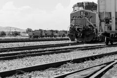 Engines on Tracks in Monochrome Royalty Free Stock Image