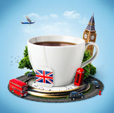 England. Traditional afternoon tea and famous symbols of England. Tourism stock photography