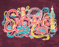 England art abstract hand lettering and doodles elements background. Vector illustration for colorful template for your. England art abstract hand lettering and Royalty Free Stock Photo