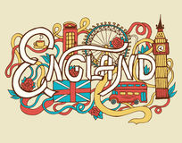 England art abstract hand lettering and doodles Royalty Free Stock Image