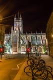 ENGLAND BAD - 20 SEPTEMBER 2015: Badabbotskloster vid natt E Arkivbilder