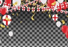 England Balloons with Countries flags of national England flags. Team group and ribbons flag ribbons, Celebration background template. victory.winner.football Stock Images