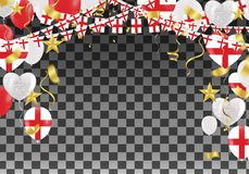 England Balloons with Countries flags of national England flags. Team group and ribbons flag ribbons, Celebration background template. victory.winner.football Royalty Free Stock Image