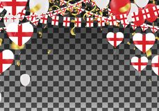 England Balloons with Countries flags of national England flags. Team group and ribbons flag ribbons, Celebration background template. victory.winner.football Royalty Free Stock Images