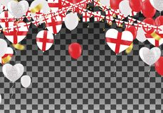 England Balloons with Countries flags of national England flags. Team group and ribbons flag ribbons, Celebration background template. victory.winner.football Royalty Free Stock Photo