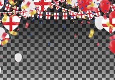 England Balloons with Countries flags of national England flags. Team group and ribbons flag ribbons, Celebration background template. victory.winner.football Stock Image