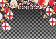 England Balloons with Countries flags of national England flags. Team group and ribbons flag ribbons, Celebration background template. victory.winner.football Stock Photo