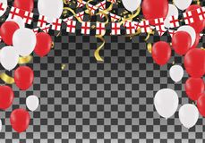 England Balloons with Countries flags of national England flags. Team group and ribbons flag ribbons, Celebration background template. victory.winner.football Stock Photography