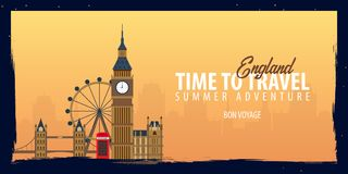 England banner. Time to Travel. Journey, trip and vacation. Vector flat illustration. England banner. Time to Travel. Journey, trip and vacation. Vector flat Stock Photos