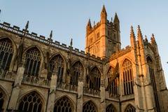 ENGLAND, BATH - 29 SEP 2015: Bath Abbey, sunset facade, golden h Stock Images