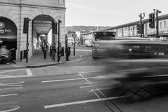 ENGLAND, BATH - 29 SEP 2015: Tunel on Dorchester St, Bath SPA Bu. S station, black and white photography royalty free stock photography