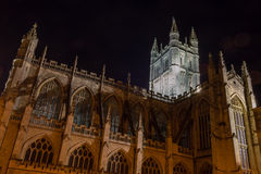 ENGLAND, BATH - 20 SEPTEMBER 2015: Bath Abbey by night B. Night photography Royalty Free Stock Photos