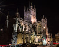 ENGLAND, BATH - 20 SEPTEMBER 2015: Bath Abbey by night C. Night photography stock photos
