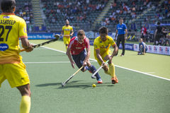 England Beats India at the World Cup Hockey 2014 Stock Photography