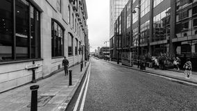 Looking Down Livery Street BW. England, Birmingham - Sep 04, 2017: Looking Down Livery Street BW, black and white street photography Royalty Free Stock Photos