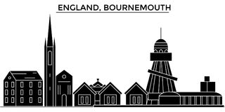 England, Bournemouth architecture vector city skyline, travel cityscape with landmarks, buildings, isolated sights on stock illustration