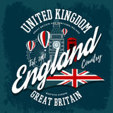 England or britain, united kingdom t-shirt print. T-shirt with england or britain, united kingdom print. Big ben clocks and ferris wheel, flag and balloons label Royalty Free Stock Images