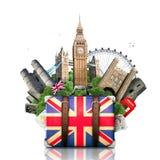England, British landmarks. Travel and retro suitcase Stock Photography